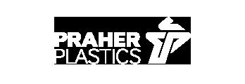 Logo Praher Plastics, blue, white